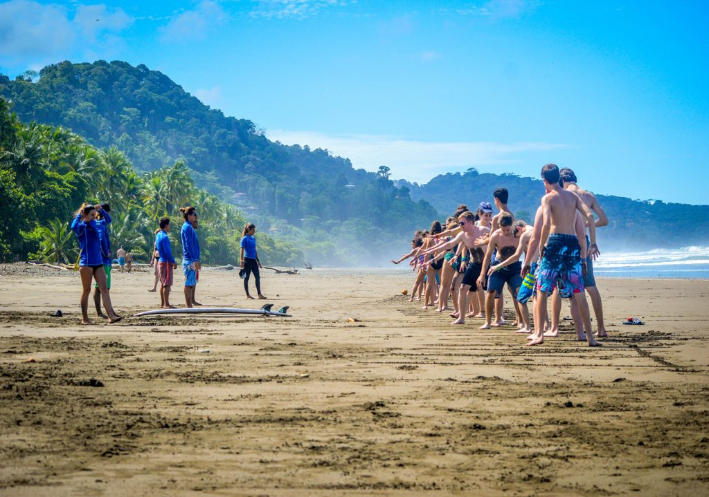 The Beach At Dominical With Costa Rica Surf Camp Students